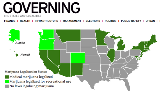 Map of marijuana laws by state